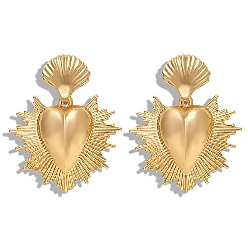 XKMY Pendientes de tuerca para mujer, estilo vintage, con forma de corazón, dorado, para mujer, diseño retro de flores, con relieve, irregulares, grandes, regalo de joyería