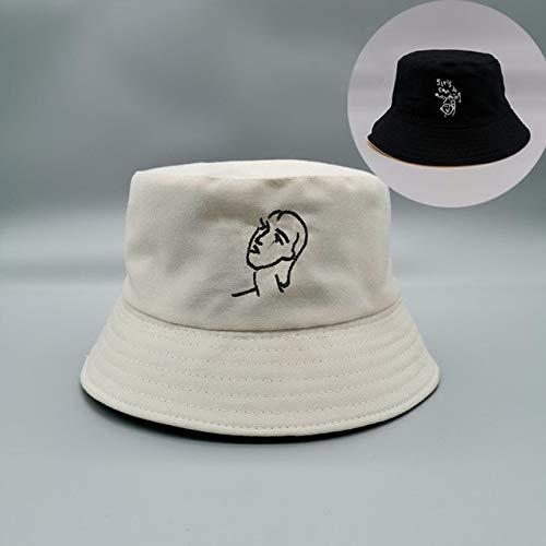 Sombrero de Cubo Unisex de Doble Cara, Gorra de Pesca al Aire Libre, Sombreros de Pesca con Cubo para Mujer, Sombrero de Pescador con Bordado de Margaritas y Protector Solar-beige-10