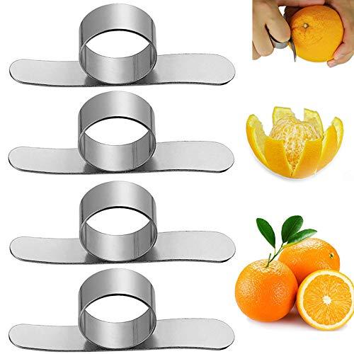 Nuluxi Orangenschäler Zitrusfrucht Schäler Zitrone Zitrusfruchtschäler Edelstahl-Orangenschäler Praktisch und Sicher Schäler Werkzeuge Geeignet für Orange,Pampelmuse,Granatapfel Fruchtschalen-4 Stück