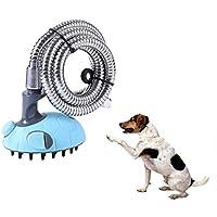 3 in 1オールインワンドッグシャワーキットシャワーブラシスプラッシュシールド、ドッグシャワースプレーセット、シャワーバスタブ、および屋外のガーデンホースは家庭用犬の洗濯ステーション屋内屋外での使用