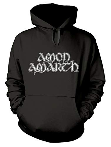 Amon Amarth 'Grey Skull' (Black) Pull Over Hoodie (Large)
