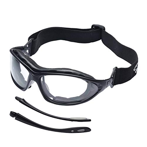 SAFEYEAR Schutzbrille Sicherheitsbrille Arbeitsbrille - SG002BK mit Kratzfester Scheibe von Anti-Beschlag mit Sehstärke (+2.0, Schwarz) Ballistische Revision