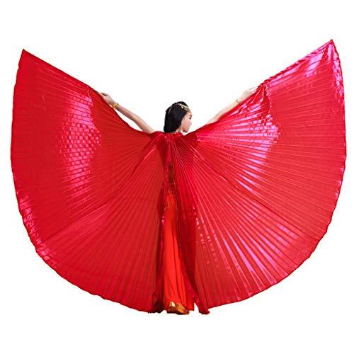 Wuchieal Öffnung Bauchtänzerin Isis Flügel Dancing Requisiten Kostüm mit Stöcke Tasche (Rot, One Size)
