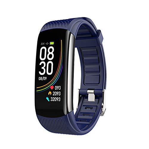 FMSBSC Reloj Inteligente Hombre Smartwatch - Medidor de Temperatura Corporal, Pulsómetros, Monitor de SpO2, Monitor de Sueño, Presión Arterial, Pulsera Actividad Inteligente para Android iOS,Azul