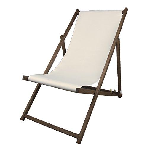 MultiBrands Liegestuhl, Holz, Naturweiß ohne Armlehne mit dunkelbrauner Lasur, klappbar