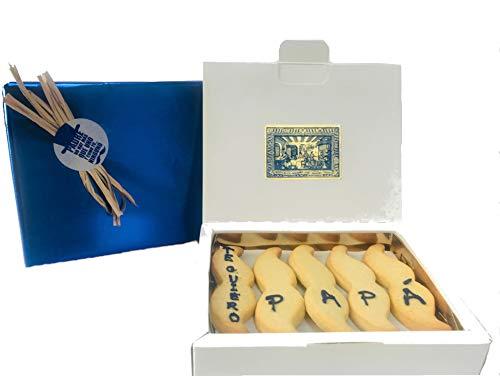 Galletas de Mantequilla en Forma de 'Bigotitos' para Papá. Mazapanes Barroso. Caja de 15 unidades. Peso Neto 250 gramos.