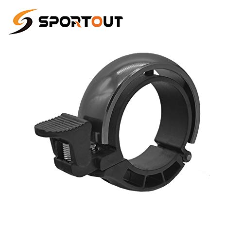 Sportout Aluminum Alloy Innovative Bike Bell Bike Ring with Loud Crisp Clear Sound for Scooter Cruiser Ebike Tricycle Mountain Bike Road Bike MTB BMX Electric Bike, 22.2mm-31.8mm (Black)