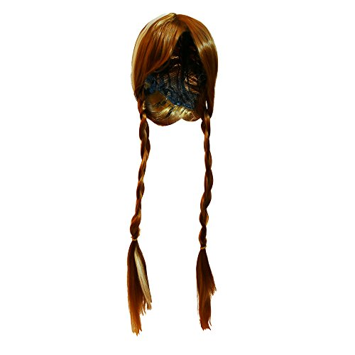 Katara - Peluca de Princesa Anna de Frozen, accesorio de disfraz de carnaval - color marrón, 35cm-50cm