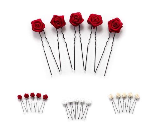 5 x Rosen auf Haarnadel - für flache Haarpartien - Brauthaarschmuck | S-F - Bordeaux Rot