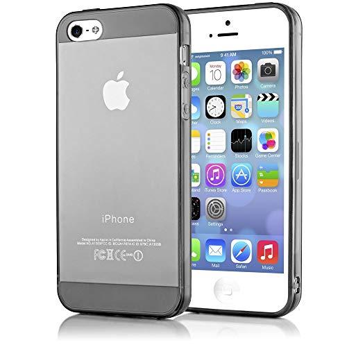 NALIA Coque Silicone Compatible avec iPhone 5 5S Se, Ultra-Fine Housse Protection Transparent Premium Cover, Slim Etui Résistant Mince Telephone Portable Clear Case Gel Bumper Souple - Gris