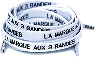 Brand with 3 Stripes Laces in French - Shoelaces for NMD/Ultraboost - Multiple Colors to Choose From! (White)