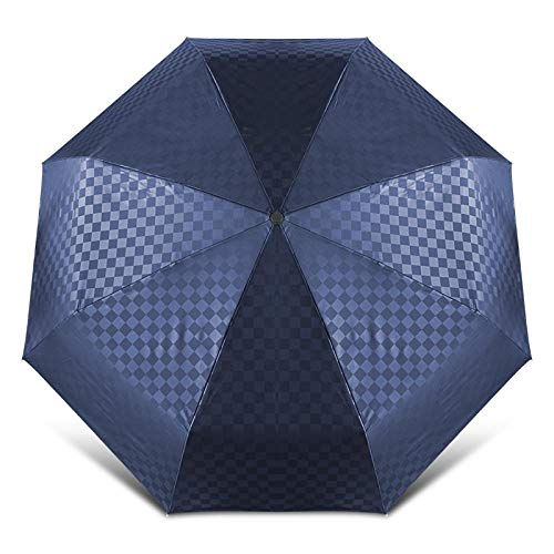 Sonnenschirm Regenschirm Winddichte Big Folding Vollautomatische Regenschirm Regen Frauen Dark Grid Business Car OutdoorRegenschirme Männer Sonnenschirm Regenschirm Tasche Blau