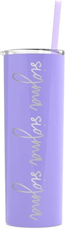 Sigma Sigma Sigma Laser Engraved Skinny Tumbler With Straw Lavender