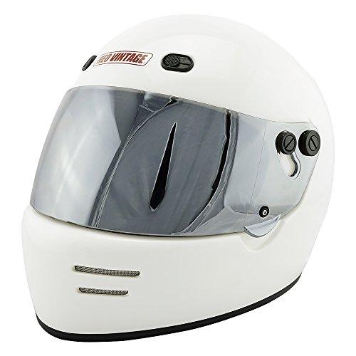 NEO VINTAGE ドラッガースタイル フルフェイス SG規格品 ステッカー付 [ホワイト×クリアミラーシールド 白 XLサイズ:61-62cm対応] VT-6 バイクヘルメット