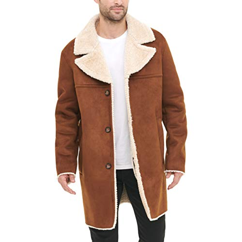 DKNY Men's Shearling Walking Coat with Faux Fur Collar, Brown, Large