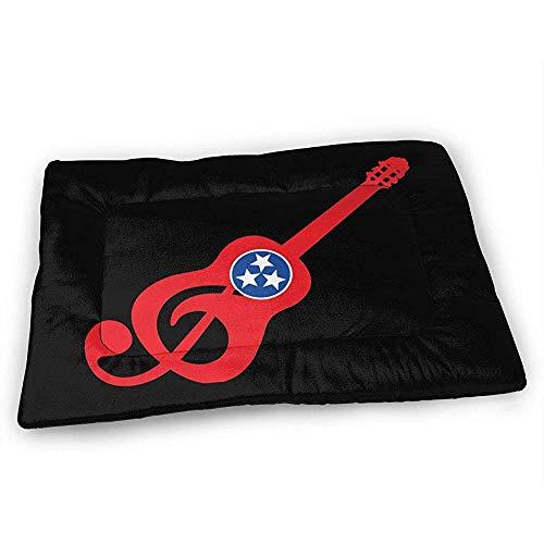 YAGEAD Tennessee Flag Gitarren-Hundebettmatte mit wasserdichter Rutschfester Unterseite, waschbare Hundekistenmatte für schlafende Haustierpolster