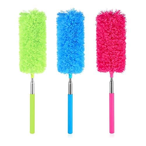 Dusenly Plumero de plumas extensibles con poste telescópico Wahsable de microfibra flexible para el polvo para el hogar,  la oficina y el coche.