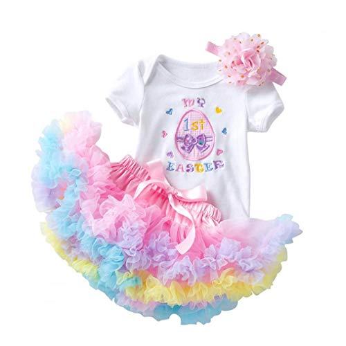 LAANCOO bebés Trajes Romper Malla Falda de Tul con Diadema Impresa Flor de Pascua Infantil 0-2Y 3PCS Rosa de Primavera y Verano Ropa Interior