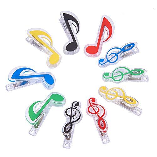 WANDIC - Pinzas de plástico para partituras de Libros con diseño de Notas Altas y Ocho Notas, Transparentes