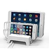 スマホスタンド タブレット ホルダー 卓上式 スマートフォンスタンド 整理アクセサリ収納 ABS素材 グレー (ホワイト)充電スタンドベースフォン 収納ホルダー