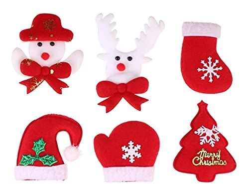 LIXBD Kit de 24 apliques de fieltro de Navidad muñeco de nieve calcetín reno aguja de fieltro kit de Navidad artesanía ornamento DIY costura fieltro Kit de inicio