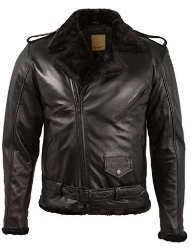 Aviatrix Motorradjacke aus echtem Leder mit doppeltem Fell für Herren mit Kreuzreißverschluss (HP1B), Schwarz , XXXL