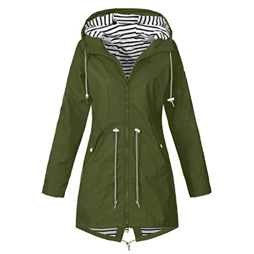 Lowest Prices! Crazyfashion Women Jacket Plus Size Hooded Windproof Loose Coat Outdoor Sport Green