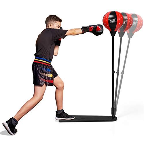 GOPLUS Punchingball, Boxsack Set, mit Boxhandschuhen & Handpumpe, Standboxball, mit stabilem Ständer & rutschfestem Pedal, höhenverstellbar von 85 bis 130 cm, für Kinder & Jugendliche ab 8 Jahre