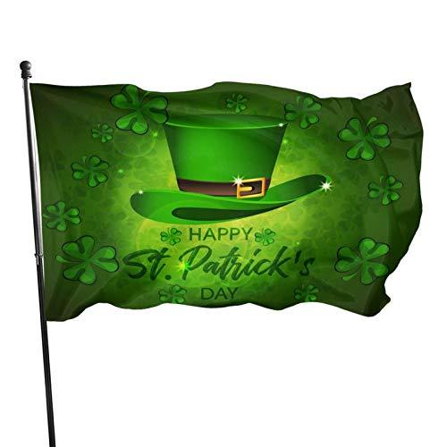 Feliz día de San Patricio, buena suerte, hoja, trébol, tréboles, bandera, 3x5 pies, bandera decorativa al aire libre, bandera estándar colgante exterior