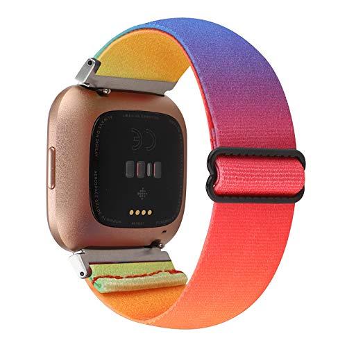 Adjustable Elastic Watch Band Compatible with Fitbit Versa/Versa 2/Versa Lite for Women Girls Stretch Boho Sport Watch Strap Bracelet Wristband for Fitbit Versa Smart Watch (Tie-dye Rainbow)