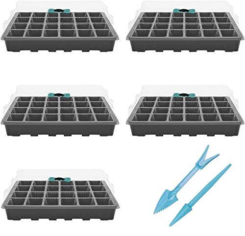 Danolt Bac à Semis 24 Trous Mini Serre pour Semis avec Dôme d'Humidité Réglable Propagateur Jardin pour Démarrage et Croissance Semence, Germination Serre Durables, Lot de 5