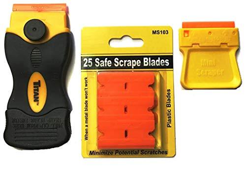 25 Plastic Double Edged Razor Blades with Titan Razor Scraper - Mini Scraper Combo