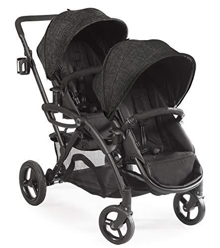 Contours opciones elite tandem doble del niño y del cochecito de bebé, asiento ajustable, marco ligero, asiento de coche de compatibilidad, gris carbón