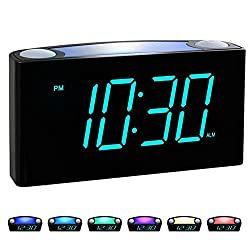 commercial Rocam Digital Alarm Clock for Bedroom-Large 6.5-inch LED Screen with Dimmer, Snooze Function, 7 Colors … color alarm clock