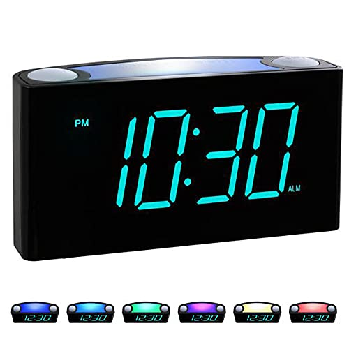 Rocam Digital Alarm Clocks for Bedrooms - Large 7' LED Display with Dimmer, Snooze, 7 Night Light,...