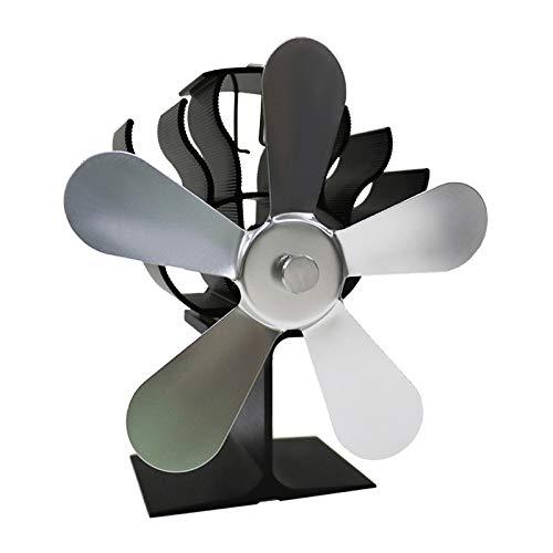 Desconocido Generic Ventilador de Estufa de 5 Hojas con energía térmica para leña/Quemador de Troncos/Chimenea Ventilador de Chimenea silenciosa distribución eficiente - de Plata