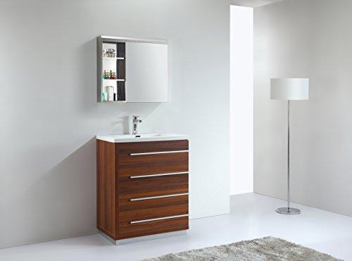 BARINA-BAD© Echtholz Badmöbel Set, Waschtisch, Waschbeckenunterschrank, Soft-Close Funktion, Spiegelschrank, Belitz