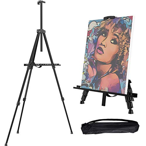 """Gotideal 66"""" Artist Easel Stand, Extra Thick Aluminum Metal Tripod Display Easel Field Easel with Carrying Bag for Floor/Table-Top Drawing and Displaying Adjustable Height from 21"""" to 66"""" Art Supplies"""
