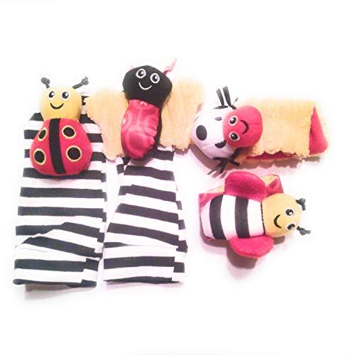 Saus Baby Animal Socks Infant Wrist Rattles Stuffed Insect Socks