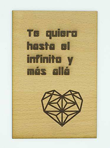 """Tarjeta Madera Haya""""Te quiero hasta el infinito y más allá"""". Regalo día de la madre, día del padre, San Valentín, cumpleaños y aniversarios"""