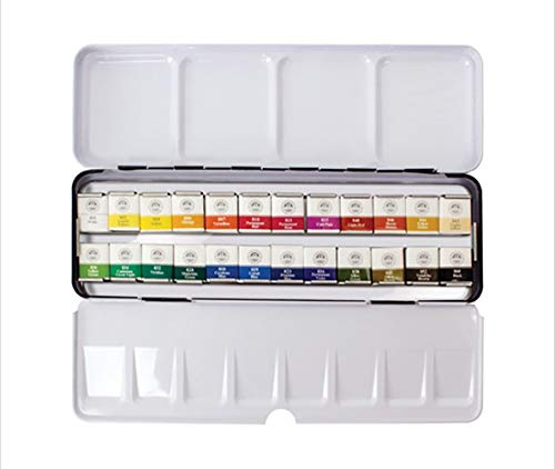 Mungyo Professional Half Pan Size Water Colors Set in Tin Case/Integral Mixing Palette in The lid (24 Colors)