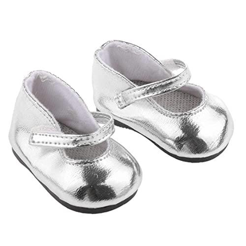 LjzlSxMF 1 par Miniatura metálico Brillante de Plata de la muñeca Zapatos ataques 18 En Adorable niña de decoración Herramienta muñeca