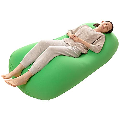 アイリスプラザ ビーズクッション もちもち からだにフィット 人をダメにする 幸せにするクッション 日本製 ソファ お昼寝 カバー洗える 清潔 MAX グリーン 幅約75×高さ約160