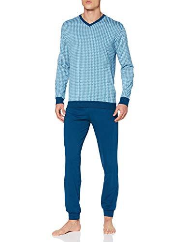 Schiesser Herren Langer Schlafanzug 'Essentials' V-Hals Allover-Muster mit Bündchen - Hellblau - 54