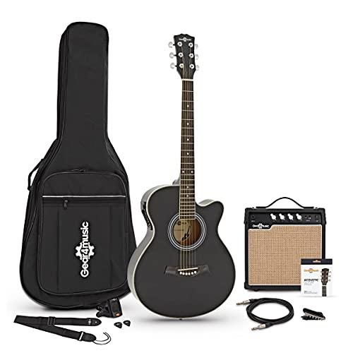 Set de Guitarra Electroacústica con Cutaway + Amplificador de 15 W Black