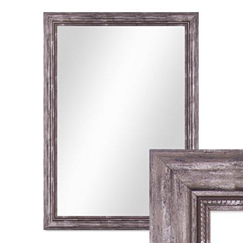 PHOTOLINI Wand-Spiegel 60x80 cm im Massivholz-Rahmen Barock-Stil Antik Silber/Spiegelfläche 50x70...