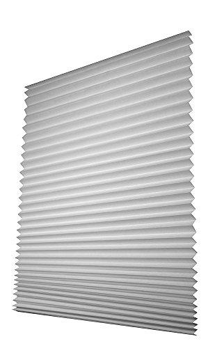 Easy-Fensterfix® – Rollo, Jalousie, Plissee – Lichtschutz aus Papier – ohne Bohren – für Fenster – Grau – bis 121 cm