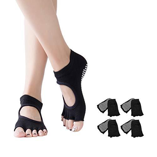 DOSNTO 4 Pares Calcetines de Yoga para Mujer, Calcetines Antideslizantes de Suela...