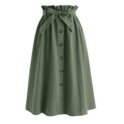 Falda de verano para mujer con botón frontal, con nudo de lazo y cintura alta, con abertura lateral, elástico y elástico