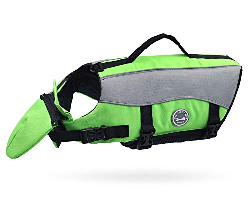 Vivaglory Dog Life Jackets with Extra Padding for Dogs, Large - Extra Reflective Green